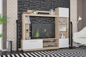 VLASTA obývacia stena dub sonoma, biela