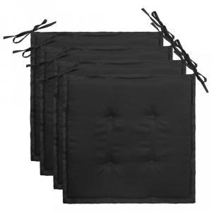 Vodeodolné podušky na záhradné stoličky 4 ks Dekorhome Čierna
