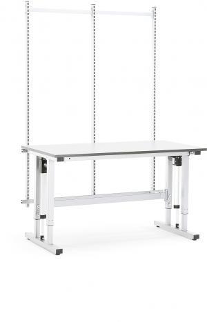 Výškovo nastaviteľný dielenský stôl Motion so zadným panelom, nosnosť 300kg