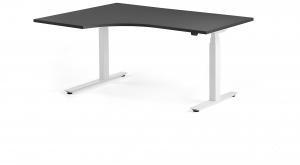 Výškovo nastaviteľný rohový stôl Modulus, 1600x1200 mm, biela, čierna