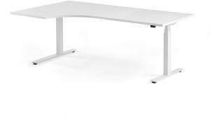Výškovo nastaviteľný rohový stôl Modulus, 2000x1200 mm, biela, biela