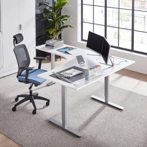 Výškovo nastaviteľný stôl Flexus, rohový, 1600x2000 mm, biela