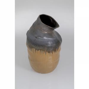 Vysoká hnědá kameninová váza Collapse 58cm