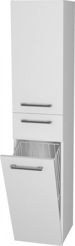 Vysoká skrinka 35-03, s košom na prádlo, zásuvkou a dvierkovou - policovou časťou - Lavá / B