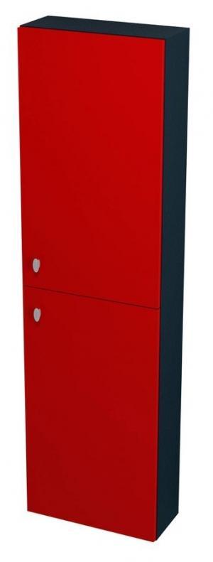 Vysoká skrinka AILA, 40x140x18, červeno-čierna - Pravá