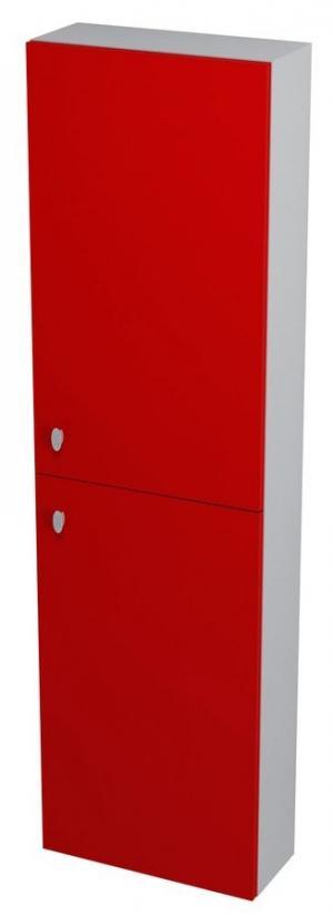 Vysoká skrinka AILA, 40x140x18, červeno-strieborná - Lavá