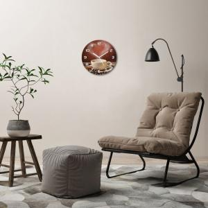 WALLMURALIA Sklenené hodiny na stenu Aromatická káva 30x30 cm