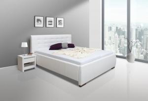 We-Tec Manželská posteľ ADELA 1, 180x200 cm s úložným priestorom - biela, nožičky – orech tmavý