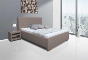 We-Tec Manželská posteľ ADELA 2, 180x200 cm s úložným priestorom - cappuccino, nožičky – orech tmavý