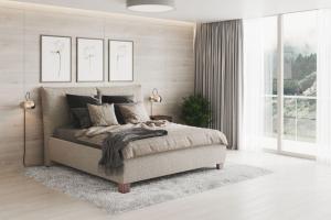 We-Tec Manželská posteľ ANITA 2 bez olemovania, béžová, 180x200 cm s úložným priestorom