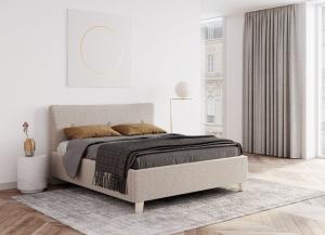 We-Tec Manželská posteľ IVONA, 180x200 cm s úložným priestorom - béžová, nožičky - dub bielený