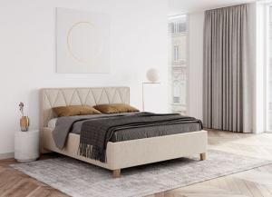 We-Tec Manželská posteľ PETRA 1, 180x200 cm s úložným priestorom - béžová, nožičky – dub prírodný