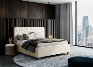 We-Tec Manželská posteľ PETRA 2, 180x200 cm s úložným priestorom, béžová, nožičky – orech tmavý