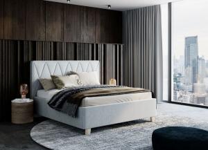 We-Tec Manželská posteľ PETRA 2, 180x200 cm s úložným priestorom, svetlo sivá, nožičky – orech tmavý