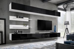 WIP-asm Obývacia stena FLY I / I1 Farba: 23 ZW FY I1 čierna / biely lesk