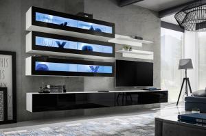 WIP-asm Obývacia stena FLY J / J2 Farba: 23 ZZ FY J2 - čierna / čierny lesk