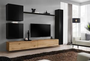 WIP-asm Obývacia stena SWITCH VIII Farba: WTS SW 8 dub votan / čierny mat / čierny lesk
