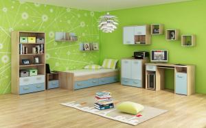 WIP Jednolôžková posteľ KITTY 04 / s roštom Farba: Dub sonoma svetlá / blankytná / modrá