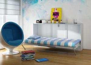 WIP Moderná sklápacia posteľ ROGER Farba: dub sonoma svetlý/modrá