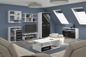 WIP Obývacia stena Angel 4 Farba: Biela / čierny lesk
