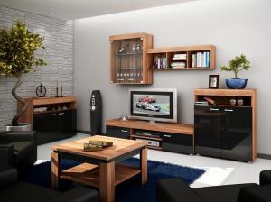WIP Obývacia stena MAX Farba: dub sonoma tmavý / biely lesk