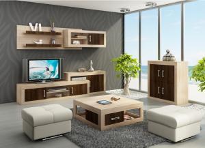 WIP Obývacia stena VERIN 1 Farba: dub burgund/biela lesk