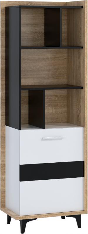 WIP Regál 1D BOX-06 Farba: dub sonoma svetlá / biela / čierna