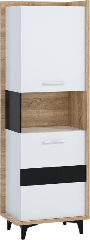 WIP Regál 2D BOX-07 Farba: dub sonoma svetlá / biela / čierna