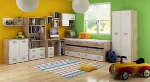 WIP Rozkladacia posteľ KITTY 07 / s roštom Farba: Dub sonoma svetlá / levanduľa / fialová