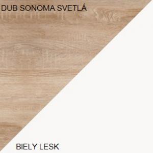 WIP Šatníková skriňa SOLO SOL 07 Farba: Dub sonoma svetlá / biely lesk