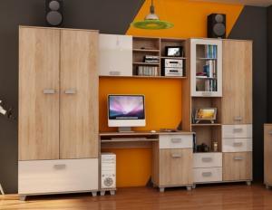 WIP Študentská izba SOLO II Farba: Dub sonoma svetlá / biely lesk