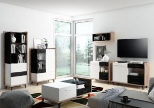 WIP Vitrína 3D BOX-13 Farba: dub sonoma svetlá / biela / čierna