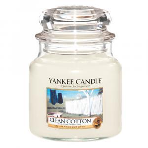 Yankee Candle sviečka Clean Cotton stredná Parafín biela