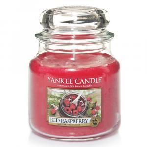 YC sviečka v skle Red Raspberry stredná  červená