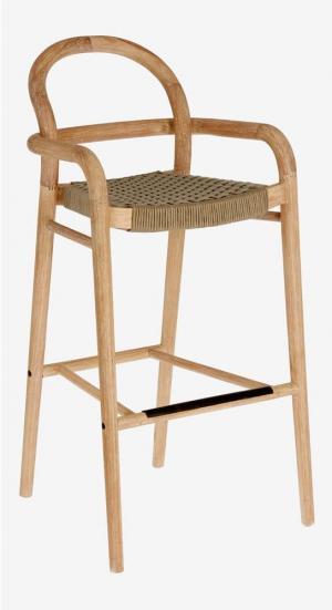 Záhradná barová stolička z eukalyptového dreva s béžovým výpletom La Forma Sheryl, výška 79 cm