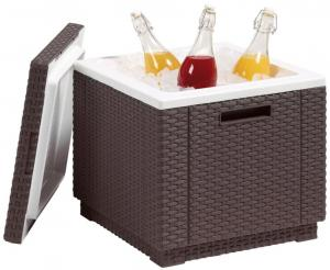 Záhradná chladnička taburet ICE CUBE - hnedá