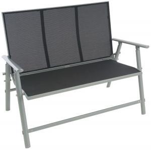 Záhradná hliníková lavička, 2-miestna, 119 cm, sivá