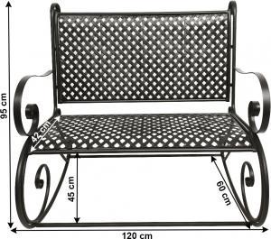 Záhradná hojdacia lavička, čierna, MAGINA