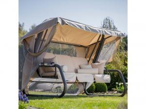 Záhradná hojdačka Venezia Lux s moskytiérou, vankúšmi a bočnými stolíkmi 11