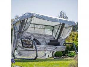 Záhradná hojdačka Venezia Lux s moskytiérou, vankúšmi a bočnými stolíkmi 12