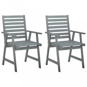 Záhradná jedálenská stolička 2 ks sivá Dekorhome