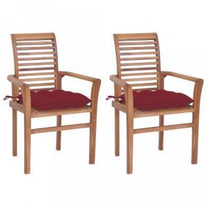Záhradná jedálenská stolička s poduškou 2 ks teak Dekorhome Vínová
