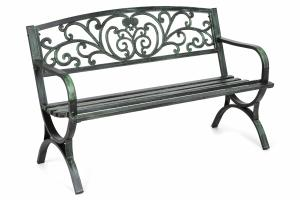 Záhradná kovová lavička FLOWERS GREEN