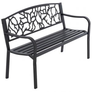 Záhradná kovová lavička v starožitnom štýle, 127 x 84 cm