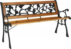 Záhradná lavička, čierna/prírodná, FAIZA