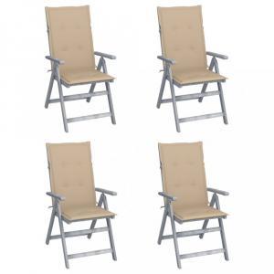 Záhradná polohovacie stolička s poduškami 4 ks Dekorhome Béžová