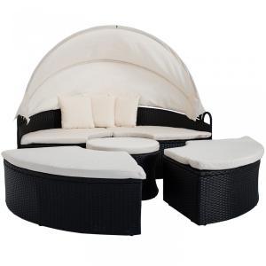 Záhradná posteľ okrúhla - čierna
