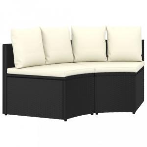 Záhradná sedacia súprava 2 ks čierna / krémová Dekorhome