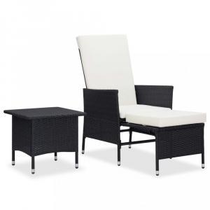 Záhradná sedacia súprava 2 ks polyratan / látka Dekorhome Čierna