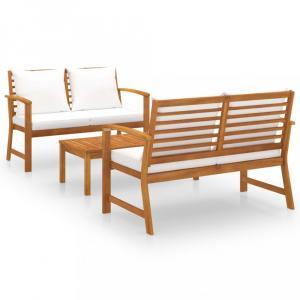 Záhradná sedacia súprava 3 ks akácie / látka Dekorhome Krémová